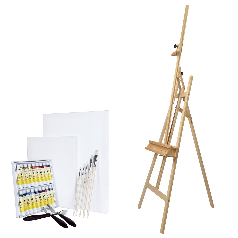 malset mit staffelei aterlierstaffelei pinsel leinwand farbe l acryl aquarell ebay. Black Bedroom Furniture Sets. Home Design Ideas